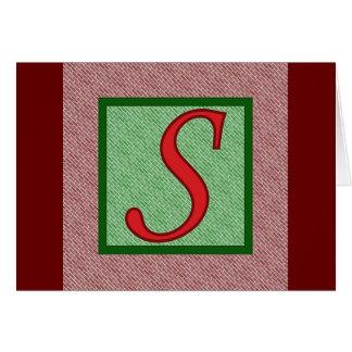 モノグラムSの赤い緑は煉瓦カードを平方します カード