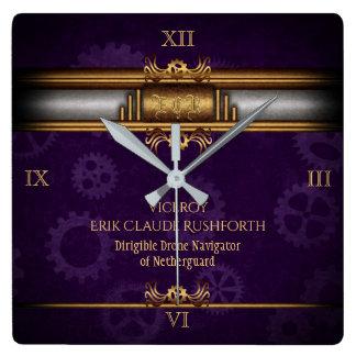 モノグラムSteampunkedのDeco、真鍮および王室のな紫色 スクエア壁時計