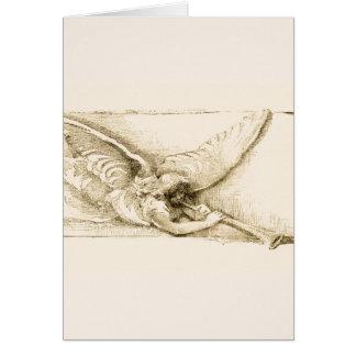 モノトーンのなトランペットとのヴィンテージの天使 カード