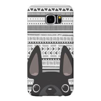 モノラルフレンチ・ブルドッグ愛Geoの場合の黒 Samsung Galaxy S6 ケース