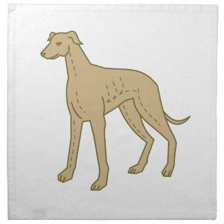 モノラルラインを立てているグレイハウンド犬 ナプキンクロス