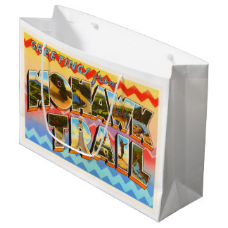 モホーク族の人の道マサチューセッツMA古い旅行記念品 ラージペーパーバッグ