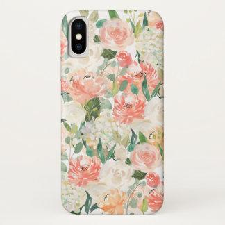 モモおよびピンクのフェミニンな水彩画の花柄 iPhone X ケース
