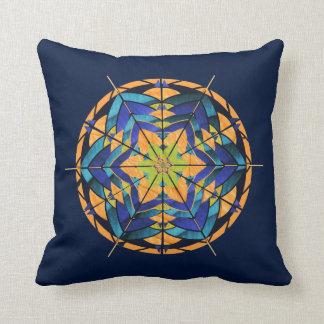 モモおよびブルーライン曼荼羅の装飾の枕 クッション