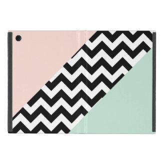 モモおよびミント色のブロックシェブロン iPad MINI ケース