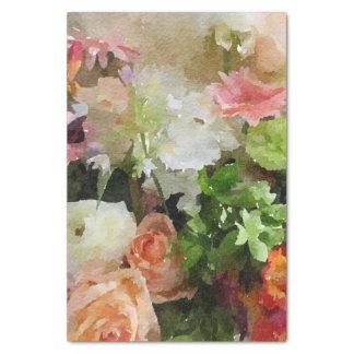 モモおよび緑の花の水彩画 薄葉紙