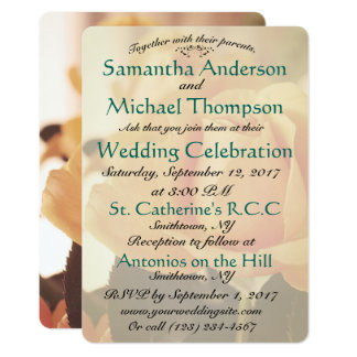 モモのばら色のクラシックな結婚式招待状教会開催地 12.7 X 17.8 インビテーションカード