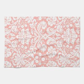 モモのダマスク織の花の台所布タオル キッチンタオル