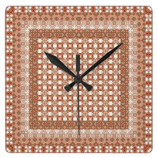 モモのチェック模様の幾何学的なタイル スクエア壁時計