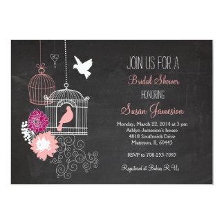 モモのピンクのタンの鳥籠のブライダルシャワーの招待状 カード