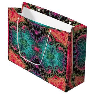 モモのピンクのターコイズの抽象芸術 ラージペーパーバッグ