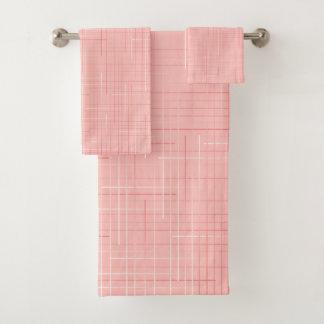モモのピンクの幾何学的なラインパターンデザインタオルセット バスタオルセット