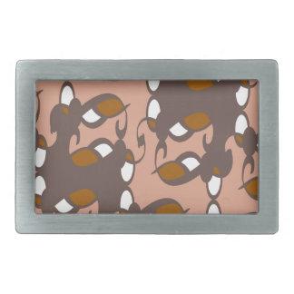 モモのブラウンのアールデコ 長方形ベルトバックル