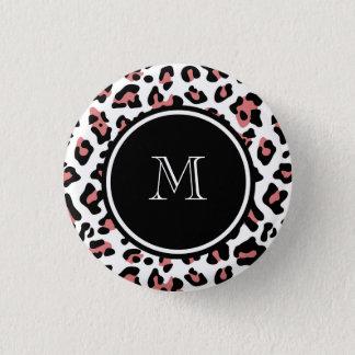 モモのモノグラムが付いている黒いヒョウのアニマルプリント 缶バッジ