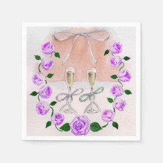 モモの紫色の水彩画のバラおよびシャンペン スタンダードカクテルナプキン