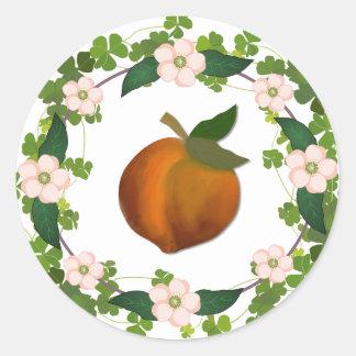 モモの花のリース ラウンドシール