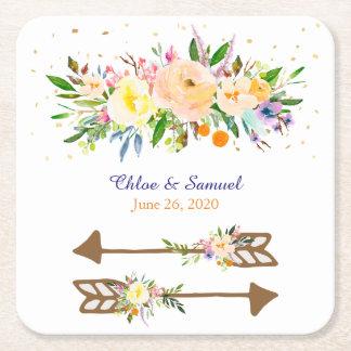 モモの花花束の結婚式 スクエアペーパーコースター