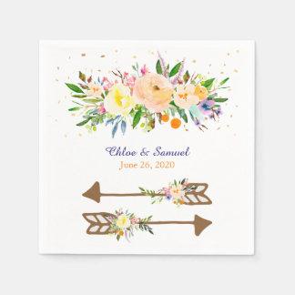 モモの花花束の結婚式 スタンダードカクテルナプキン