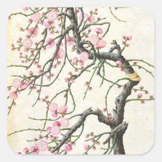 モモの花(紙の色) スクエアシール