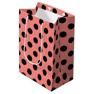 モモの黒い水玉模様 ミディアムペーパーバッグ