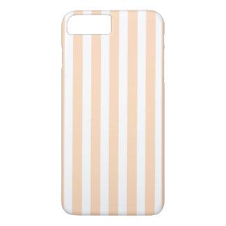 モモのAngelskinの淡い色のな珊瑚及び白のストライプ iPhone 8 Plus/7 Plusケース