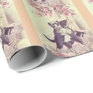 モモを持つ猫を結婚することは縞で飾ります ラッピングペーパー