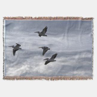 モモイロペリカンの鳥毛布 スローブランケット