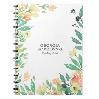 モモ及び緑の花の水彩画フレーム ノートブック