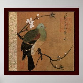 モモ木のヴィンテージの日本人の花柄のハト ポスター