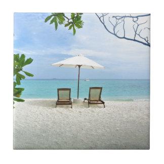モルディブのビーチ 正方形タイル小