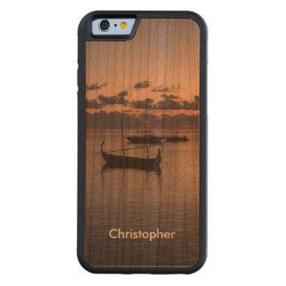 モルディブのロマンチックな日没の熱帯海のゴンドラ CarvedチェリーiPhone 6バンパーケース