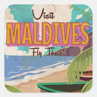 モルディブの島のヴィンテージ旅行ポスターart. スクエアシール