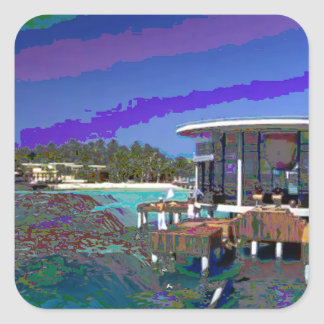 モルディブの海は陸標の写真撮影を見ます スクエアシール