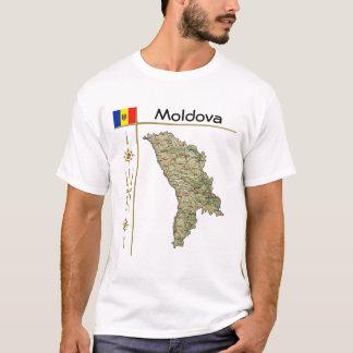 モルドバの地図 + 旗 + タイトルのTシャツ Tシャツ