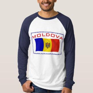モルドバの旗フレームの青 Tシャツ