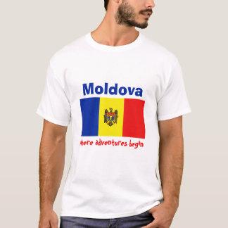 モルドバの旗 + 地図 + 文字のTシャツ Tシャツ