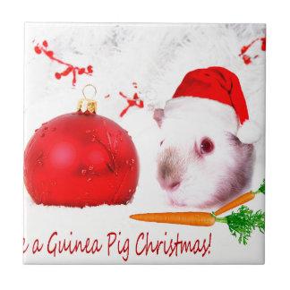モルモットのクリスマスを持って下さい タイル