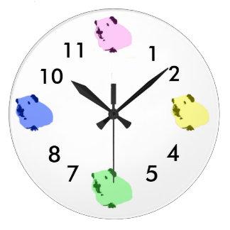 モルモットのポップアートの時計 ラージ壁時計