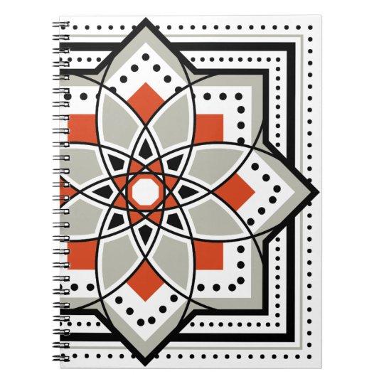 モロッカンに憧れるタイル柄・ブラック×オレンジ ノートブック