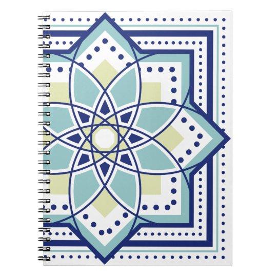 モロッカンに憧れるタイル柄・ブルー×イエローグリーン ノートブック