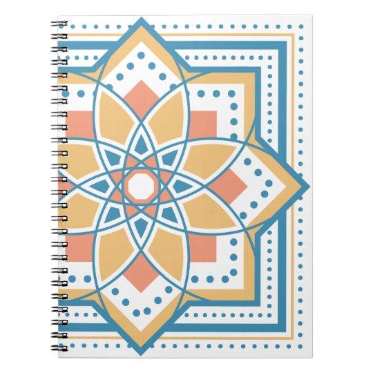 モロッカンに憧れるタイル柄・ブルー×オレンジ ノートブック
