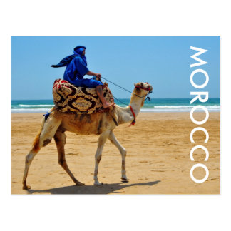 モロッコのアラビアの乗車のラクダの海岸のビーチ ポストカード