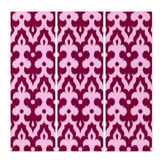 モロッコのイカットのダマスク織のパターン、バーガンディおよびピンク トリプティカ