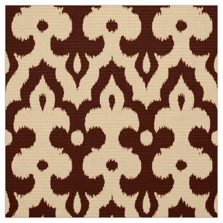モロッコのイカットのダマスク織のパターン、ブラウンおよびタン ファブリック