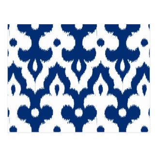 モロッコのイカットのダマスク織パターン、コバルトブルー及び白 ポストカード