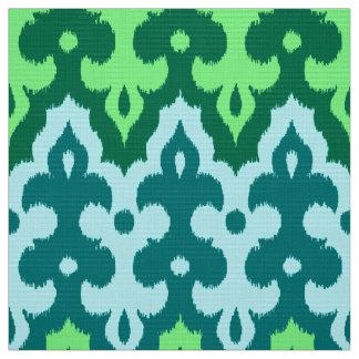 モロッコのイカットのダマスク織、ターコイズ及びヒスイ緑 ファブリック
