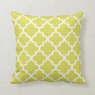 モロッコのクローバーパターン|淡黄緑の緑 クッション