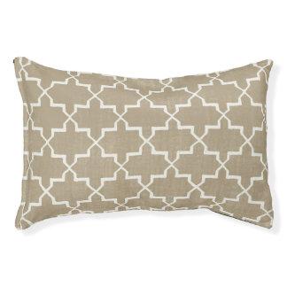 モロッコのクローバー犬のベッド、ベージュ色または白