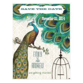 モロッコのタイルの孔雀の鳥かごの保存日付 ポストカード