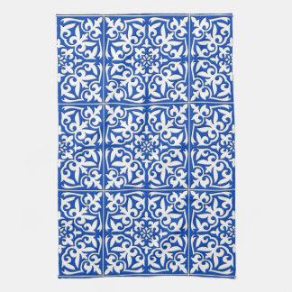 モロッコのタイル-コバルトブルーおよび白 キッチンタオル